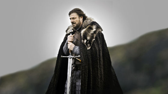 Eddard Stark (Sean Bean) holds Ice